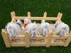 χειροποίητη μπομπονιέρα βάπτισης αλογάκι από βαμβακερό ύφασμα και γκρο κορδέλες