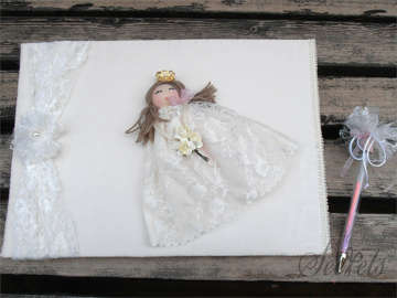 Εικόνα του Βιβλία ευχών βάπτισης πριγκίπισσα  λευκό