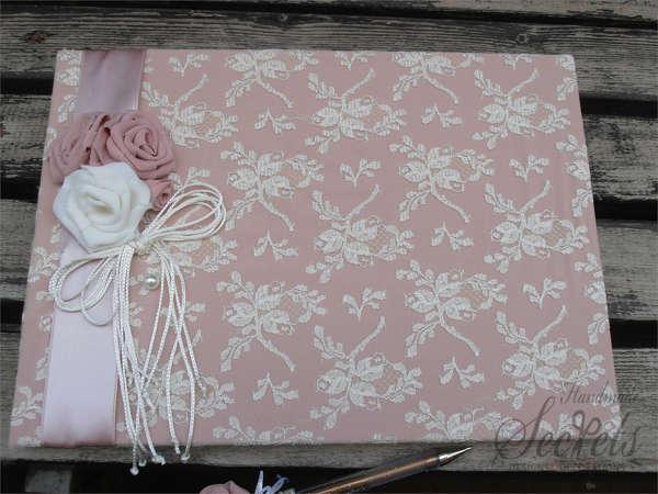 Εικόνα με Βιβλίο ευχών vintage ροζ
