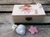 μπομπονιέρα βάπτισης ξύλινο κουτάκι για κοριτσάκι με θέμα vintage