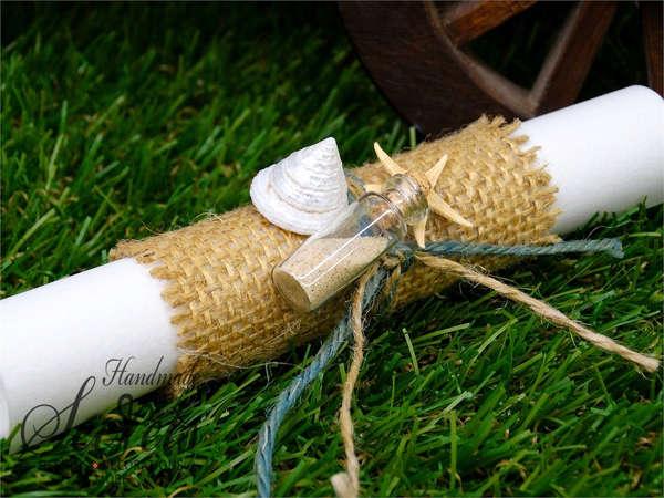 Εικόνα με Προσκλητήριο γάμου λινάτσα με κοχύλια