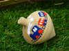 Μπομπονιέρα ξύλινη σβούρα με μπλε -κόκκινο τρενάκι