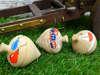 ξύλινες σβούρες για βάπτιση με θέμα τα μπαλόνια ,το τρενάκι και το καραβάκι