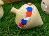 Μπομπονιέρα ξύλινη σβούρα με κόκκινες κ μπλε πινελιές και πουά