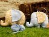 μπομπονιέρα βάπτισης υφασμάτινο ελεφαντάκι σε δύο αποχρώσεις του καφέ και του γαλάζιου