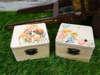 μπομπονιέρες ξύλινα κουτάκια με παιδάκια και σκυλάκι για βάπτιση