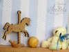 καδράκι ξύλινο με αλογάκι και αρκουδάκι για βάπτιση