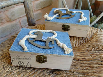 Εικόνα του Κουτί μαρτυρικών γαλάζια λινάτσα αλογάκι