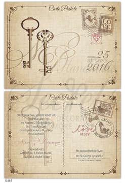 Εικόνα του Προσκλητήριο γάμου carte postale vintage