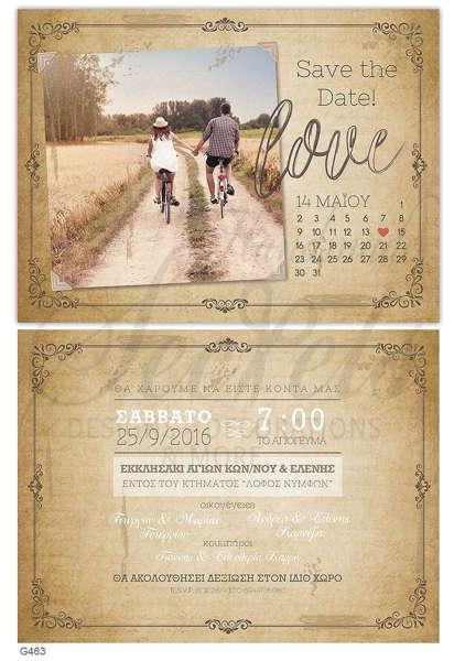 Εικόνα με Προσκλητήριο γάμου vintage ημερολόγιο