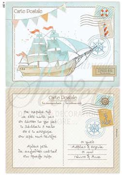 Εικόνα του Προσκλητήριο βάπτισης carte postale καράβι