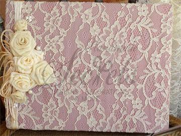 Εικόνα του Βιβλίο ευχών vintage  ροζ λευκά λουλούδια