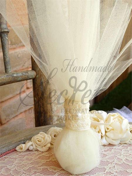 Μπομπονιέρες γάμου με λευκό γαλλικό τούλι