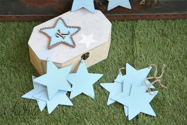 Εικόνα με Κουτί για ευχές με αστεράκια γαλάζια