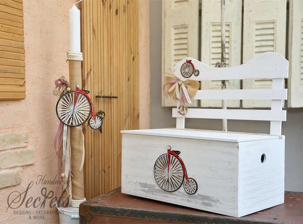 Εικόνα με Σετ βάπτισης με vintage ποδήλατο