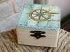 μπομπονιέρα βάπτισης ξύλινο κουτί με θέμα ναυτικό