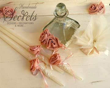 Εικόνα του Λαδοσέτ βάπτισης με σομόν τριαντάφυλλα