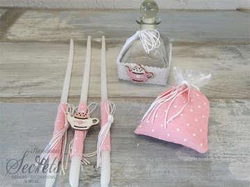Εικόνα του Λαδοσέτ βάπτισης ροζ πουά με τσαγιέρα