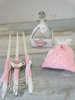 Εικόνα με Λαδοσέτ βάπτισης ροζ πουά με τσαγιέρα