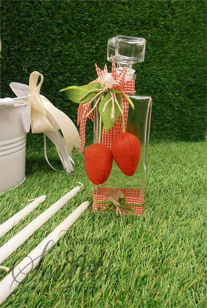 Εικόνα με Λαδοσέτ βάπτισης κόκκινο καρό με φράουλα