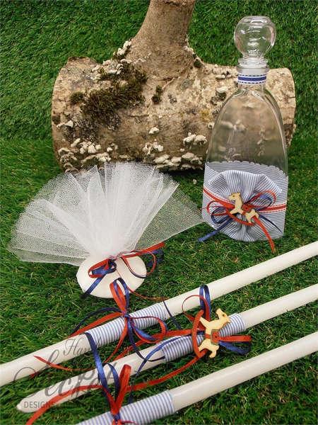 Εικόνα με Λαδοσέτ βάπτισης με αλογάκι και πολύχρωμες κορδέλες