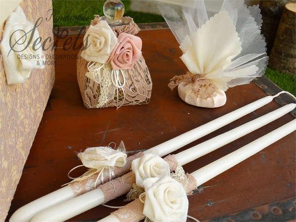 Εικόνα με Λαδοσέτ βάπτισης με υφασμάτινα λουλούδια