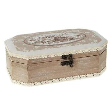 Εικόνα του Ξύλινο κουτί μαρτυρικών με μπεζ τριαντάφυλλο
