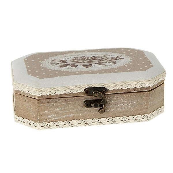 Εικόνα με Ξύλινο κουτί μαρτυρικών με μπεζ τριαντάφυλλο μικρό