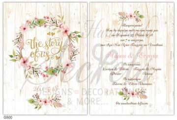 Εικόνα του Προσκλητήριο γάμου στεφανάκι με λουλούδια