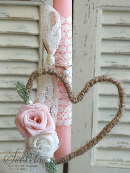 Εικόνα με Λαμπάδα πασχαλινή καρδιά τριαντάφυλλα