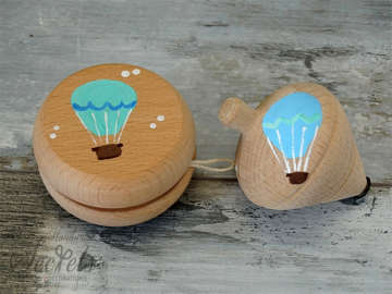 Εικόνα του Μπομπονιέρες βάπτισης ξύλινες με αερόστατο