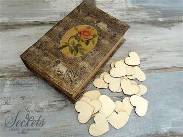 Εικόνα του Ξύλινο κουτί ευχών τριαντάφυλλο