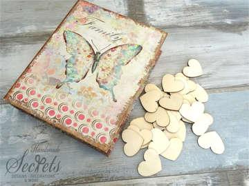Εικόνα του Ξύλινο κουτί ευχών πεταλούδα