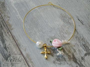 Εικόνα του Μαρτυρικό βραχιόλι πέρλα ροζ λουλούδι