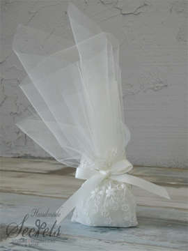 Εικόνα του Μπομπονιέρα γάμου πουγκί δαντέλα μαργαρίτα