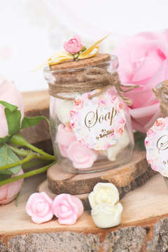 Εικόνα του Μπομπονιέρα βαζάκι ροζ λουλούδια