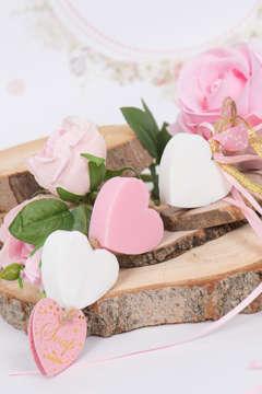 Εικόνα του Μπομπονιέρα σαπούνια καρδούλες