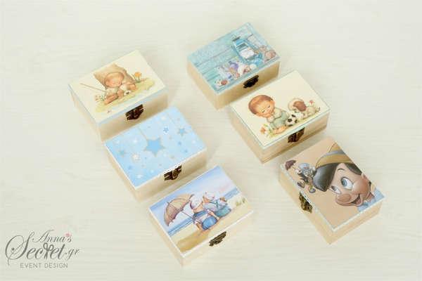 κουτάκι vintage ξύλινο για βάπτιση