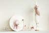 Εικόνα με Σετ βάπτισης vintage ροζ καπελάκι και ομπρέλα