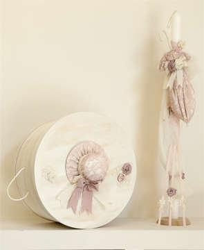 Εικόνα του Σετ βάπτισης vintage ροζ καπελάκι και ομπρέλα