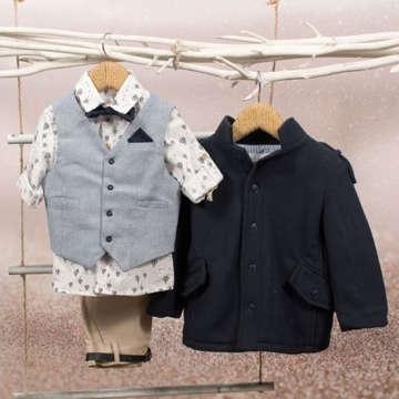 Βαπτιστικό σύνολο της Bambolino για αγόρια, που αποτελείται από παντελόνι, πουκάμισο, γιλέκο, παπιγιόν, μαντήλι, ζώνη.