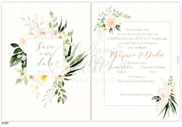 Εικόνα του Προσκλητήριο γάμου με λουλούδια μίνιμαλ.