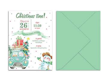 Προσκλητήρια βάπτισης, προσκλητήριο αγοράκι, χιονάνθρωπος, χριστουγεννιάτικο προσκλητήριο