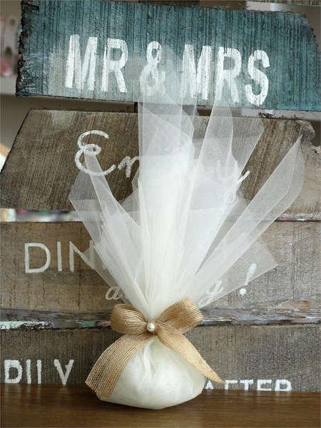 Εικόνα με Μπομπονιέρα γάμου πουγκί με πέρλα
