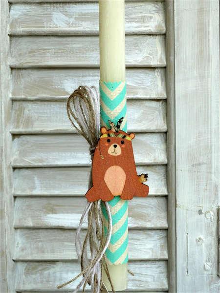 Εικόνα με Λαμπάδα πασχαλινή ξύλινο αρκουδάκι