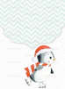 Προσκλητήριο με  θέμα πιγκουίνο να κάνει πατινάζ και χριστουγεννιάτικη διακόσμηση.