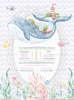 Προσκλητήριο βάπτισης με θέμα φάλαινα στο βυθό