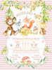 προσκλητήρια βάπτισης loveclip για κορίτσι με ζωάκια του δάσους