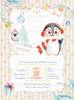 προσκλητήρια βάπτισης loveclip για κορίτσι με πιγκουίνο Χριστουγεννιάτικο