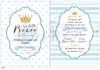 Προσκλητήριο βάπτισης της Lavly για αγόρια Little Prince
